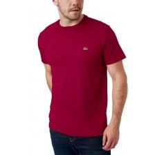 Lacoste Mens Plain Crew T-Shirt (Wine)