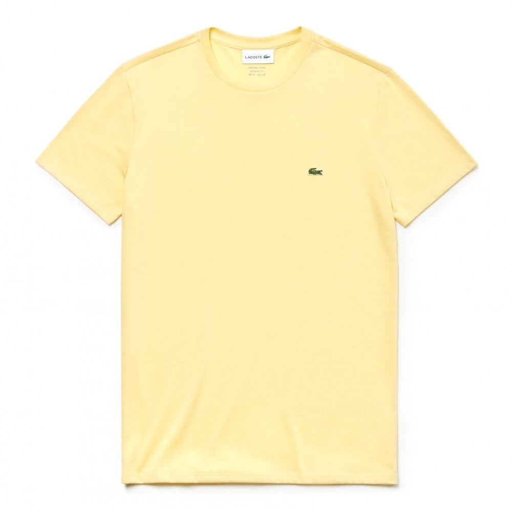 f7b3762ae Lacoste Mens Plain Crew T-Shirt (Yellow) - Mens from Loofes UK