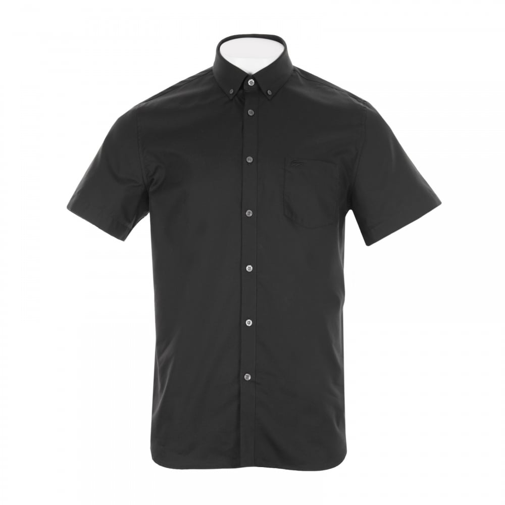 Lacoste mens plain short sleeve shirt black mens from for Short sleeve lacoste shirt