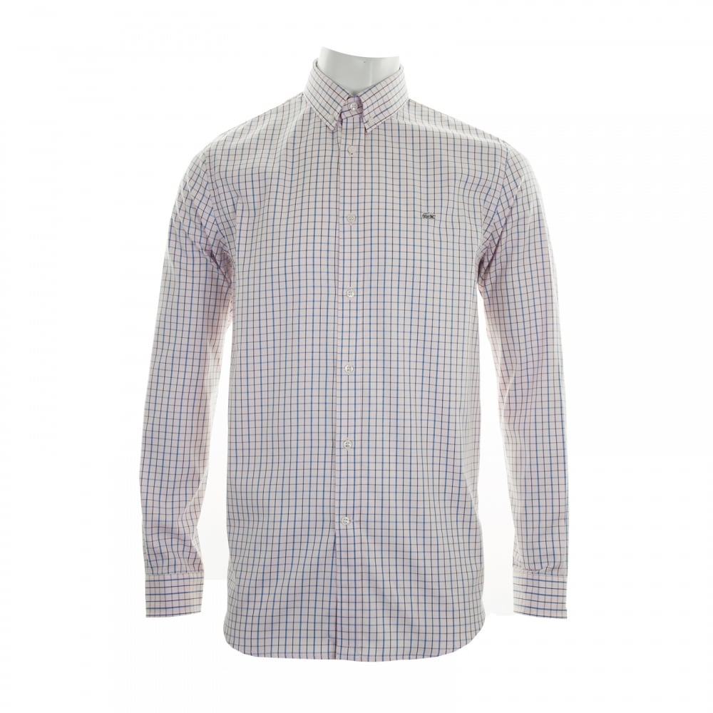LACOSTE Lacoste Mens Regular Fit Check Shirt (Pink) - Mens from ...