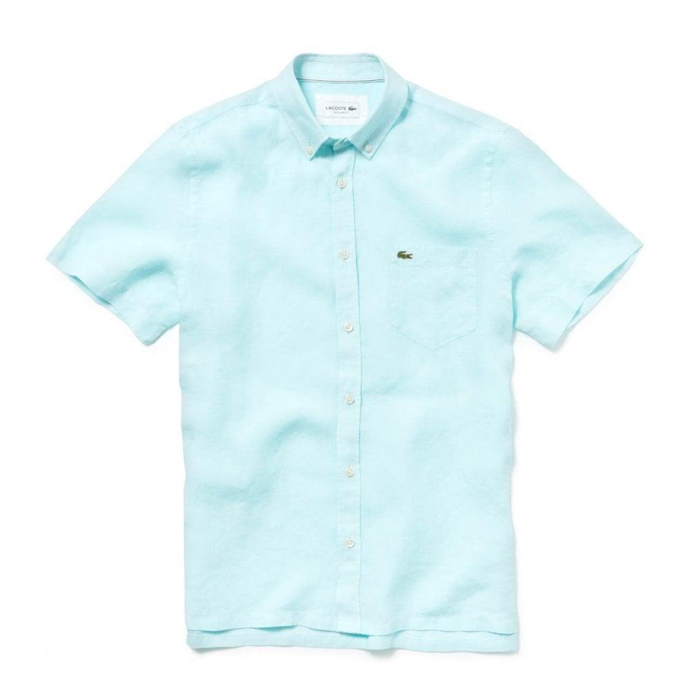 77232293f Lacoste Mens Short Sleeve Linen Shirt (Mint) - Mens from Loofes UK