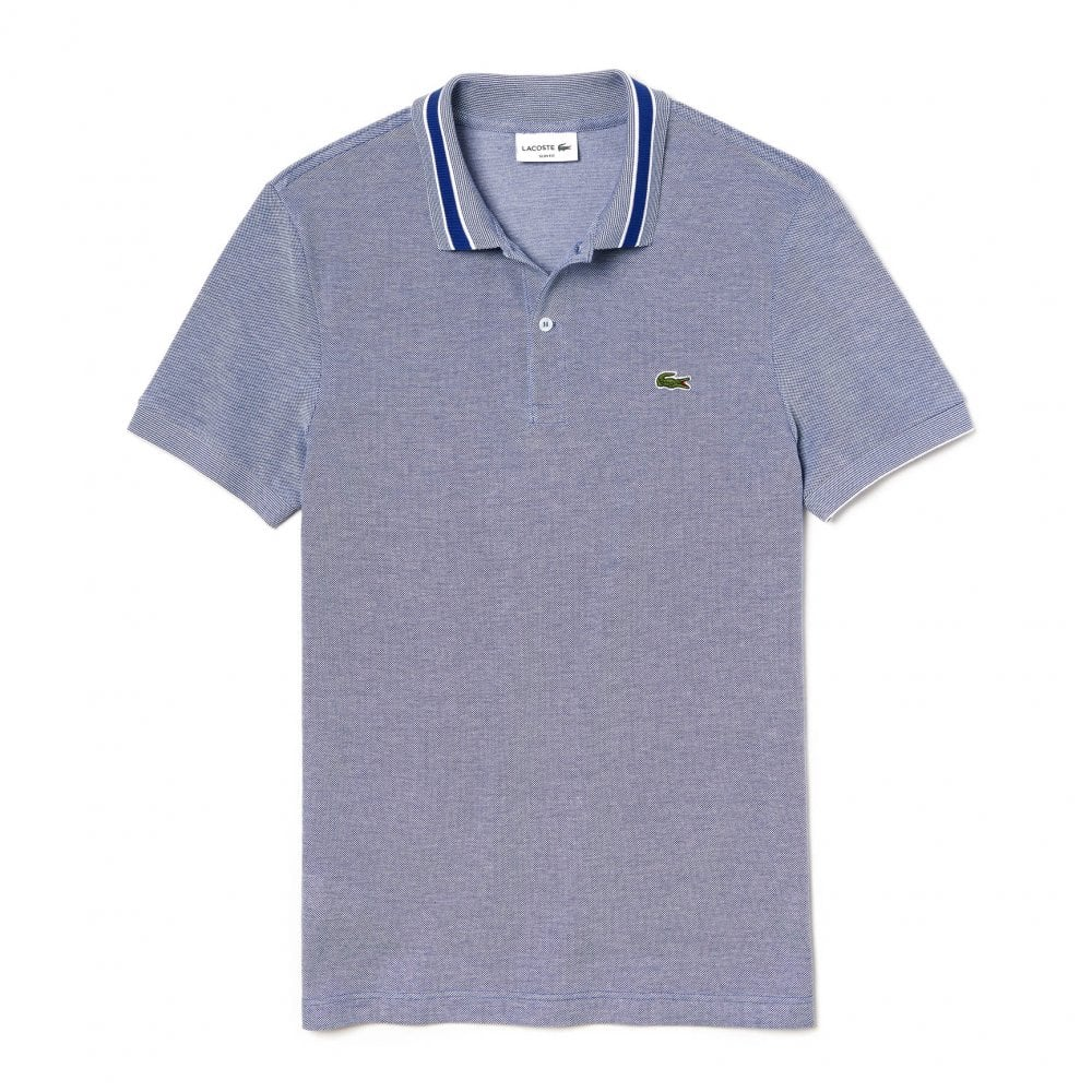 e811f838fd3d31 Lacoste Mens Slim Fit Stripe Collar Polo Shirt (Blue) - Mens from ...