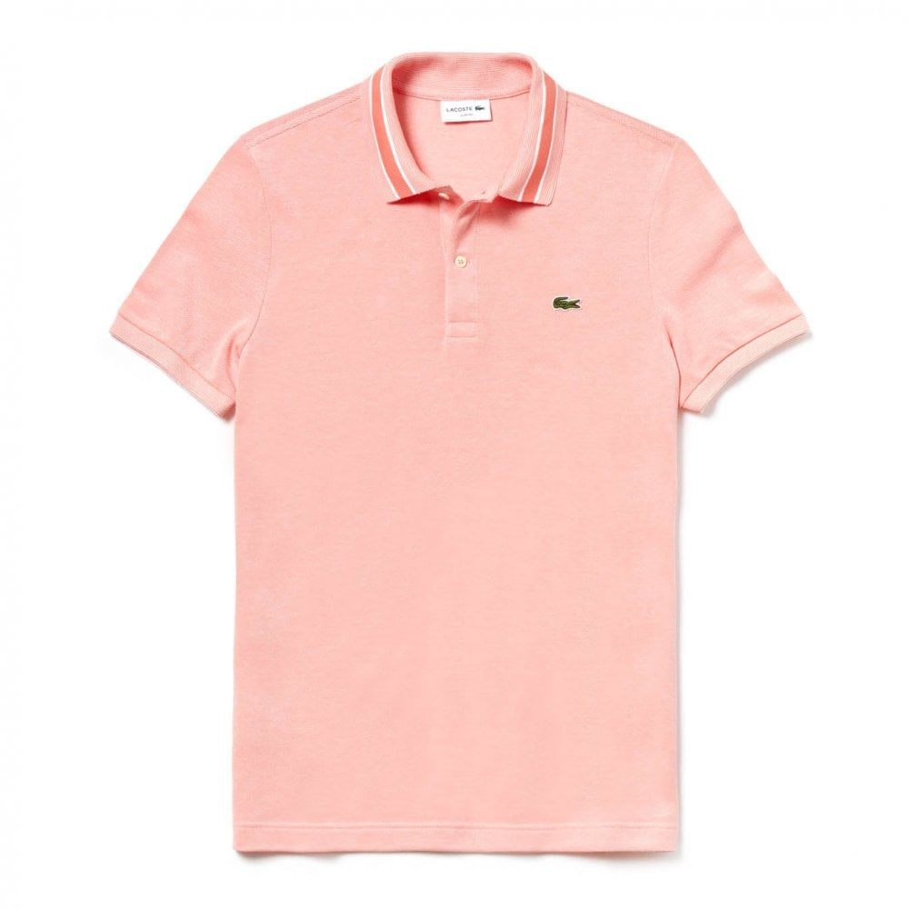 3d6bbb2d6aa Lacoste Mens Slim Fit Stripe Collar Polo Shirt (Peach) - Mens from ...