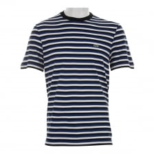 Lacoste Mens Stripe Crew T-Shirt (Blue/Black)