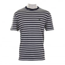 Lacoste Mens Stripe Crew T-Shirt (Navy/Grey)