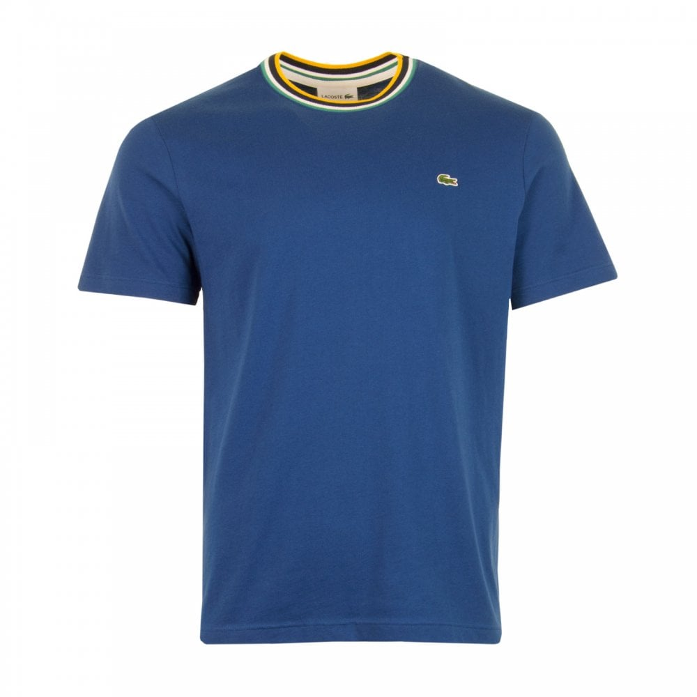 5cde7db6e Lacoste Mens Stripe Neck T-Shirt (Blue) - Mens from Loofes UK