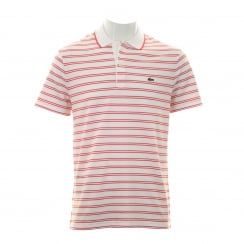 Lacoste Mens Stripe Polo Shirt (White/Red)