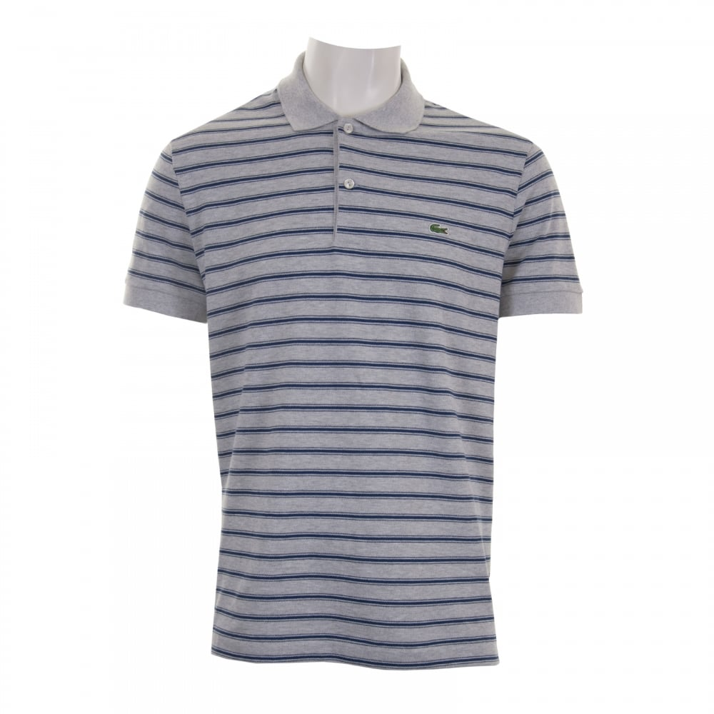 Lacoste Mens Striped Polo Shirt (Grey) - Mens from Loofes UK