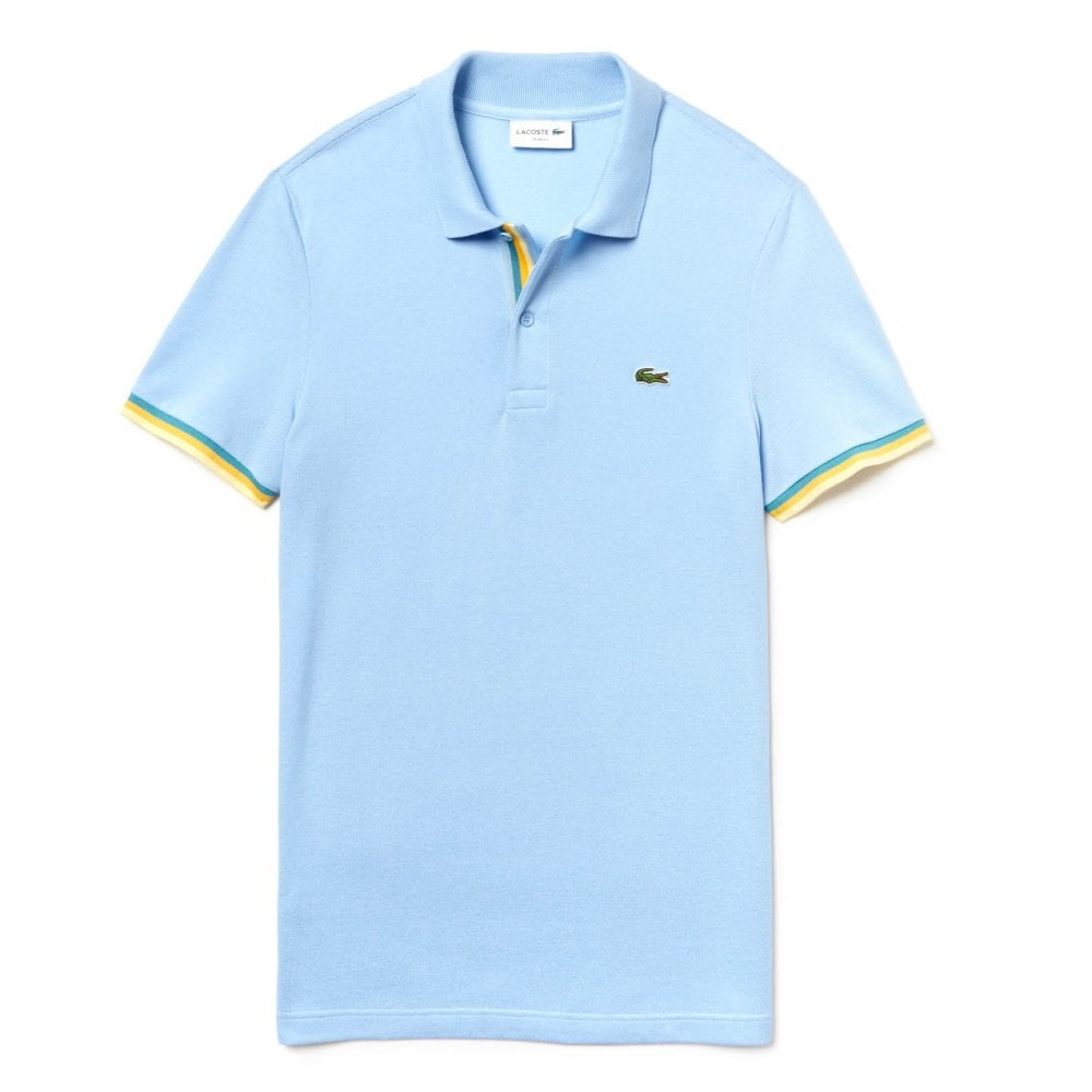 a7bb7b20d Lacoste Mens Striped Trim Polo Shirt (Sky Blue) - Mens from Loofes UK