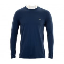 Lacoste Mens TH5276 Long Sleeve Crew Neck T-Shirt (Blue)