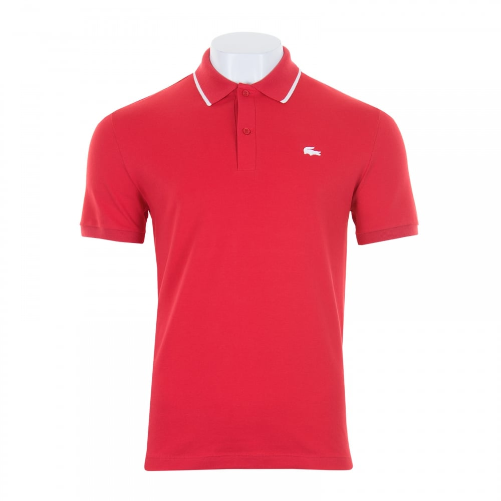 Lacoste mens tipped collar slim fit polo shirt red for Mens slim fit polo shirt