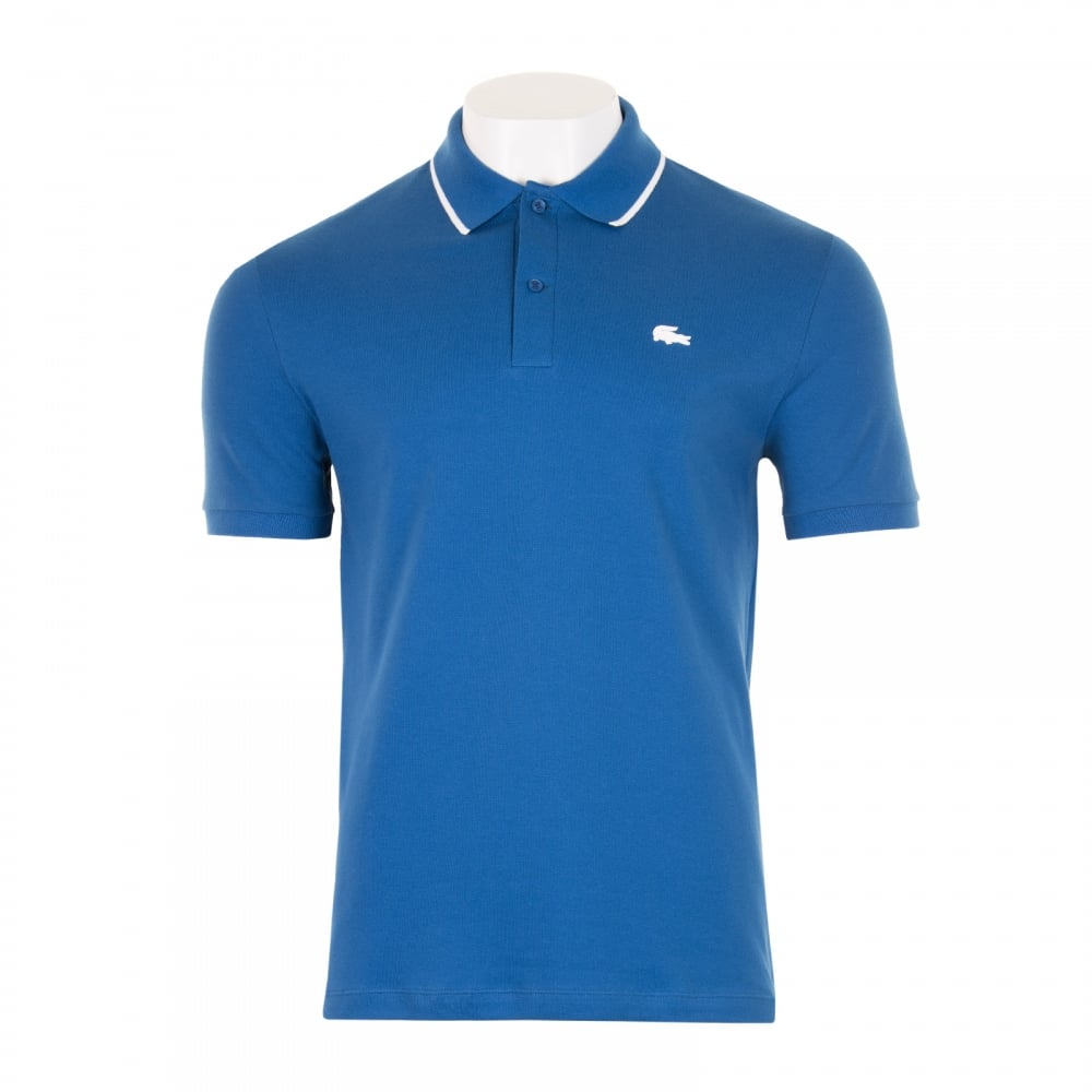 Lacoste Mens Tipped Collar Slim Fit Polo Shirt (Royal) - Mens from ... 829072c53859