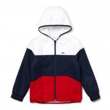 Lacoste Sport Juniors Hooded Blouson Jacket (White   Navy   Red) 966bfcf3e