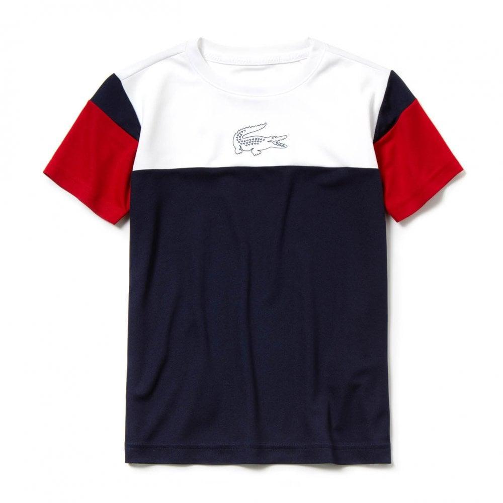 0b38b0bfa4f58 Lacoste Sport Juniors Panel T-Shirt (White / Navy / Red) - Kids from ...