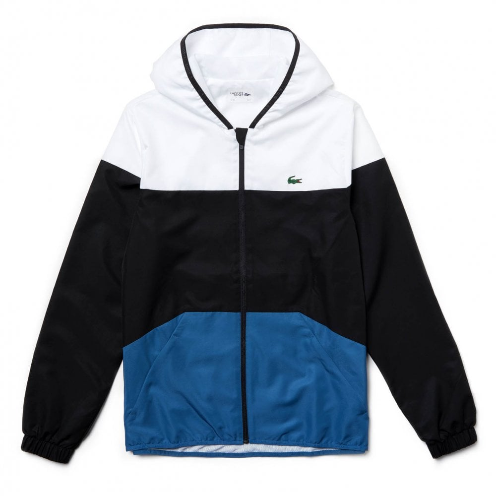 8df8434b3118 Lacoste Sport Mens Hooded Blouson Jacket (White   Black   Blue ...