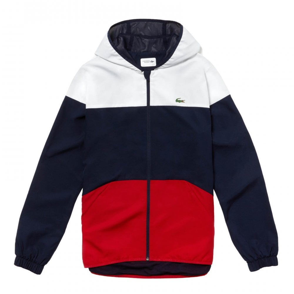 262029bc8 Mens Hooded Blouson Jacket (White / Navy / Red)