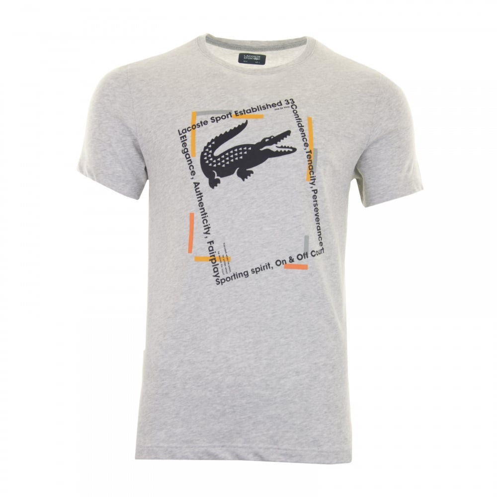 Lacoste Sport Mens Large Croc T-Shirt (Grey) - Mens from Loofes UK 12cfab896b1