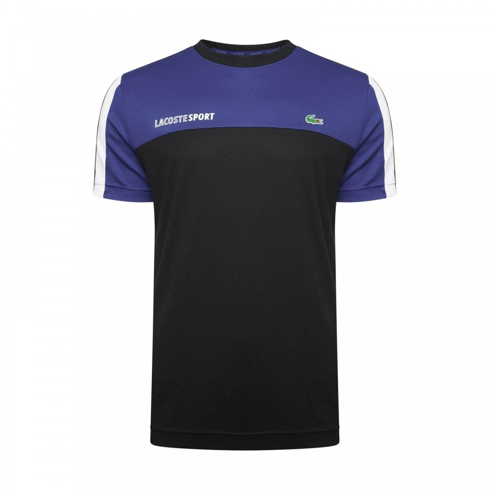 Lacoste Sport Mens Panel T-Shirt (Blue   Black) - Mens from Loofes UK 9a447e21b65
