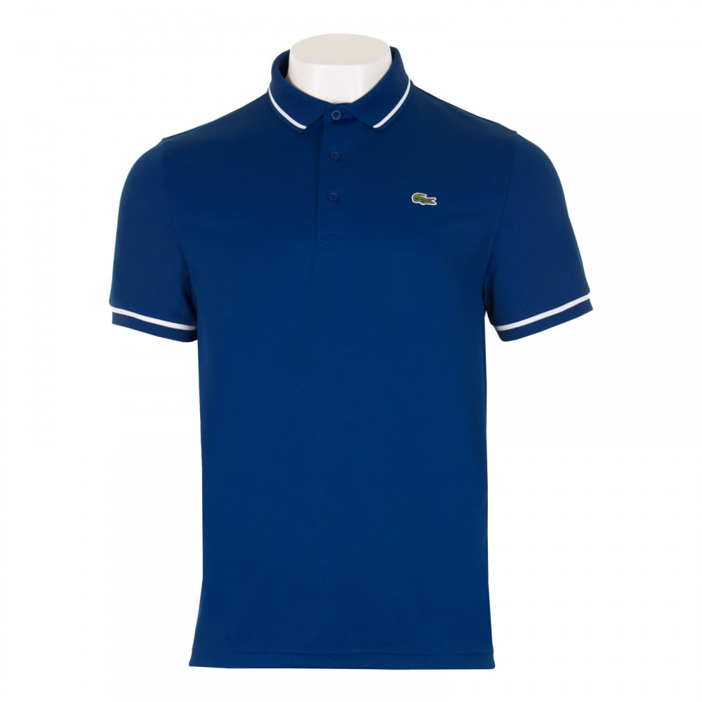 Lacoste Sport Mens Tipped Polo Shirt Blue Mens From Loofes Uk