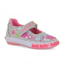 Lelli Kelly Juniors Butterfly Glitter Shoes (Silver)