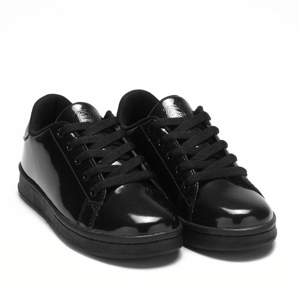 junior black leather trainers