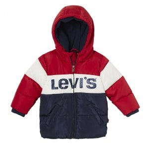 b711741c9 Levis Juniors Ray Chest Print Stripe Hooded Jacket (Red   White ...