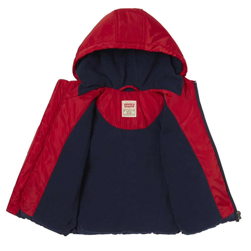 b123a07c5 Levis Infants Ray Chest Print Stripe Hooded Jacket (Red   White ...