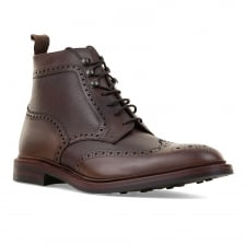 Loakes Shoes Mens Bosworth Grain Leather Brogue Boot (Brown)