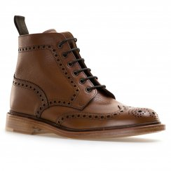 Loakes Shoes Mens Cogswell Grain Leather Brogue Boot (Brown)