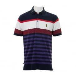 Luke Mens Carnoustie Golf Striped Polo Shirt (Marina Navy/Mixed)
