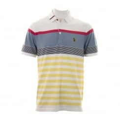 Luke Mens Carnoustie Golf Striped Polo Shirt (White/Mixed)