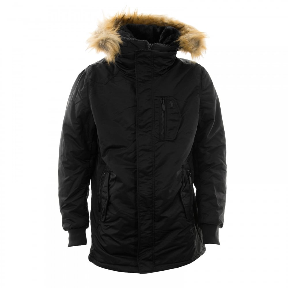 Luke Mens Luca Clarke Hooded Parka Jacket (Black) - Mens from ...