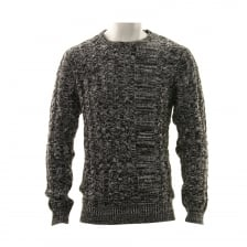Luke Mens Newarton Cable Front Crew Neck Knitted Sweater (Black)
