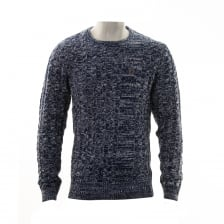 Luke Mens Newarton Cable Front Crew Neck Knitted Sweater (Navy)