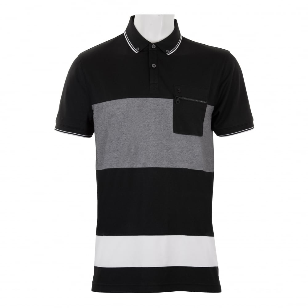 2630a21374a Luke Mens No Plane Zip Pocket Polo Shirt (Black) - Mens from Loofes UK
