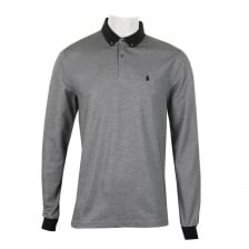 Luke Mens Strut Long Sleeve Badge Detail Polo Shirt (Silver)