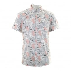 Luke Mens Suchart Print Shirt (White/Navy/Red)