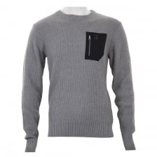 Luke Mens Terry Ten-men Textured Knit Sweater (Grey)