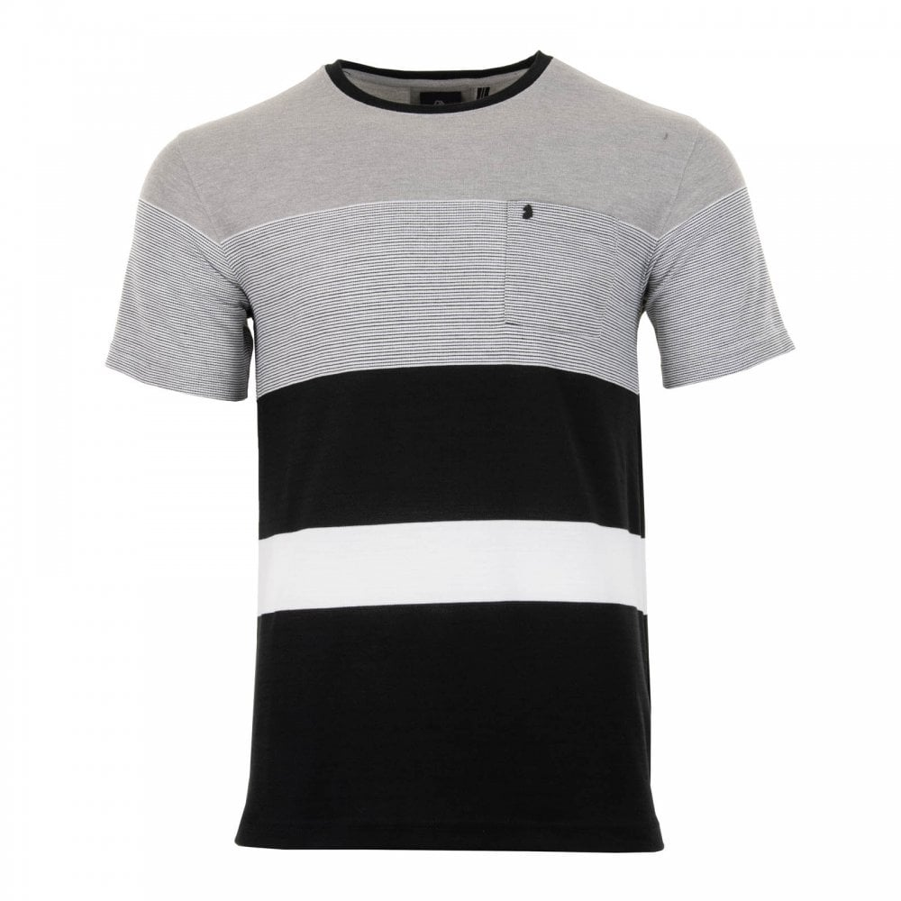 Luke Mens Toto 3 Stripe Detail T-Shirt (Grey) - Mens from Loofes UK