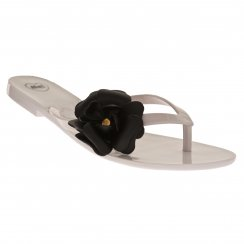 Mel Womens Honey Flower Flip Flops (White/Black)