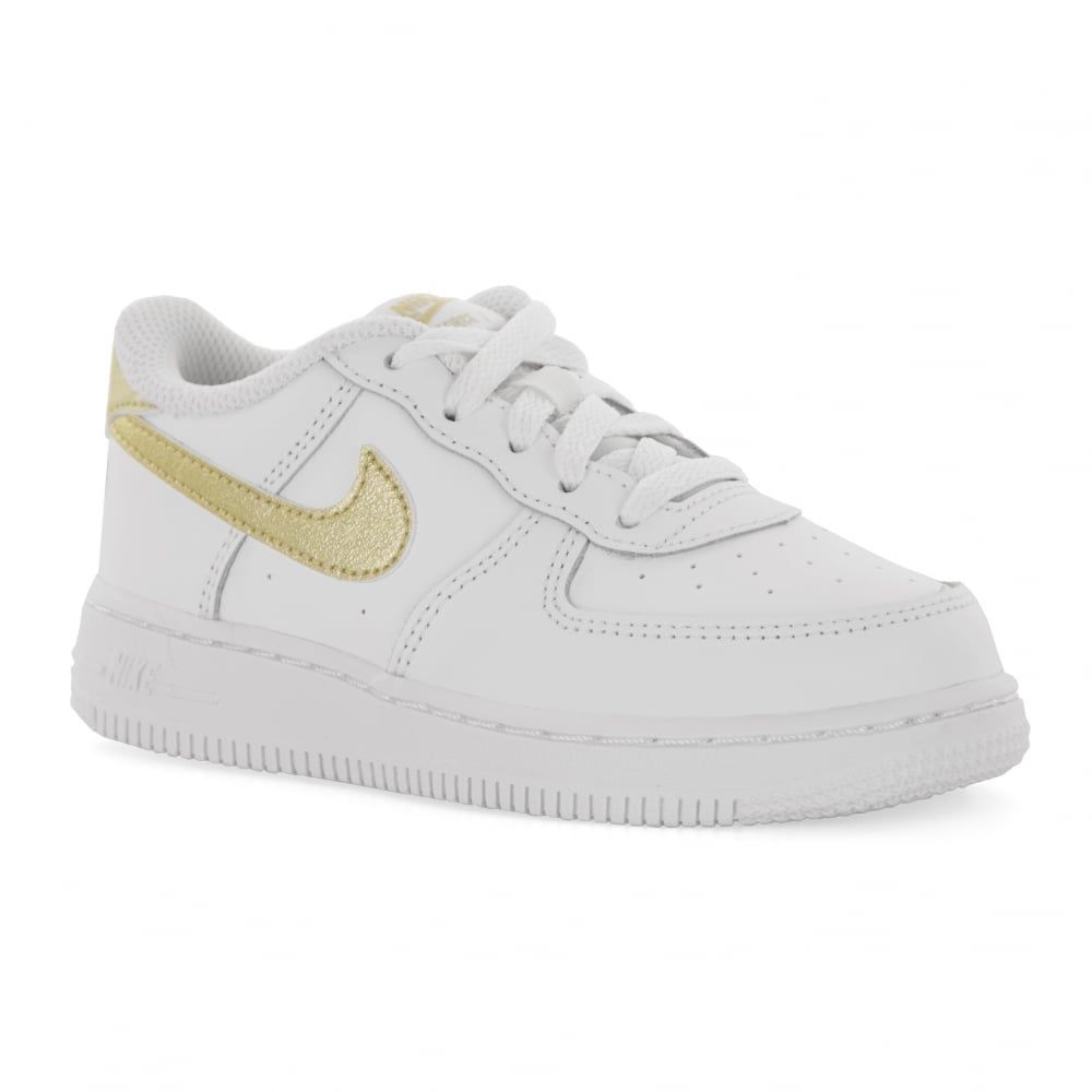 huge discount f82f3 2e6de Nike Infants Air Force 1 Trainers (White Gold)