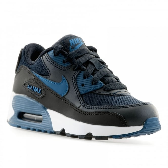 nike infants air max 90 mesh 416 trainers obsidian blue black white kids  from loofes. ce517a4595c6a