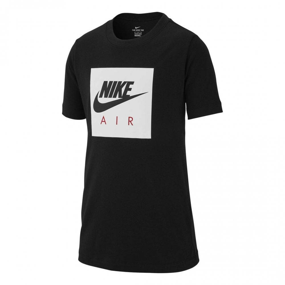6ea9abee4 NIKE Nike Juniors Air Box Logo Print T-Shirt (Black / White) - Kids ...