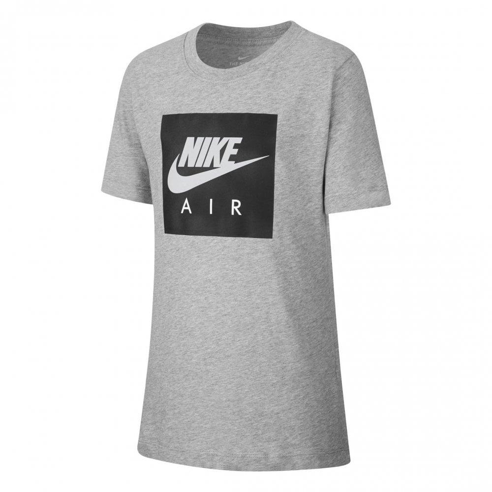 711bf9e8f42e Nike Juniors Air Box Logo Print T-Shirt (Grey   Black) - Kids from ...