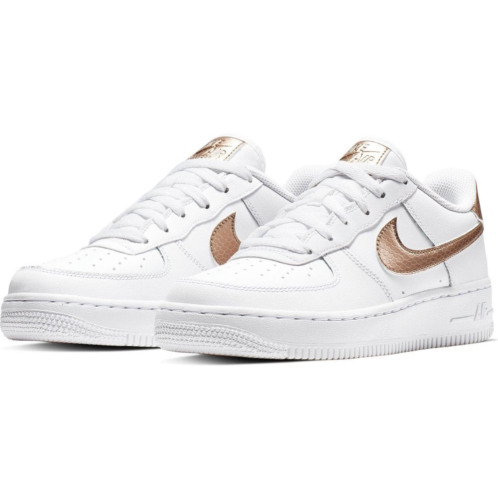 89a49ea28664b NIKE Nike Juniors Air Force 1 EP Trainers (White Gold) - Kids from ...