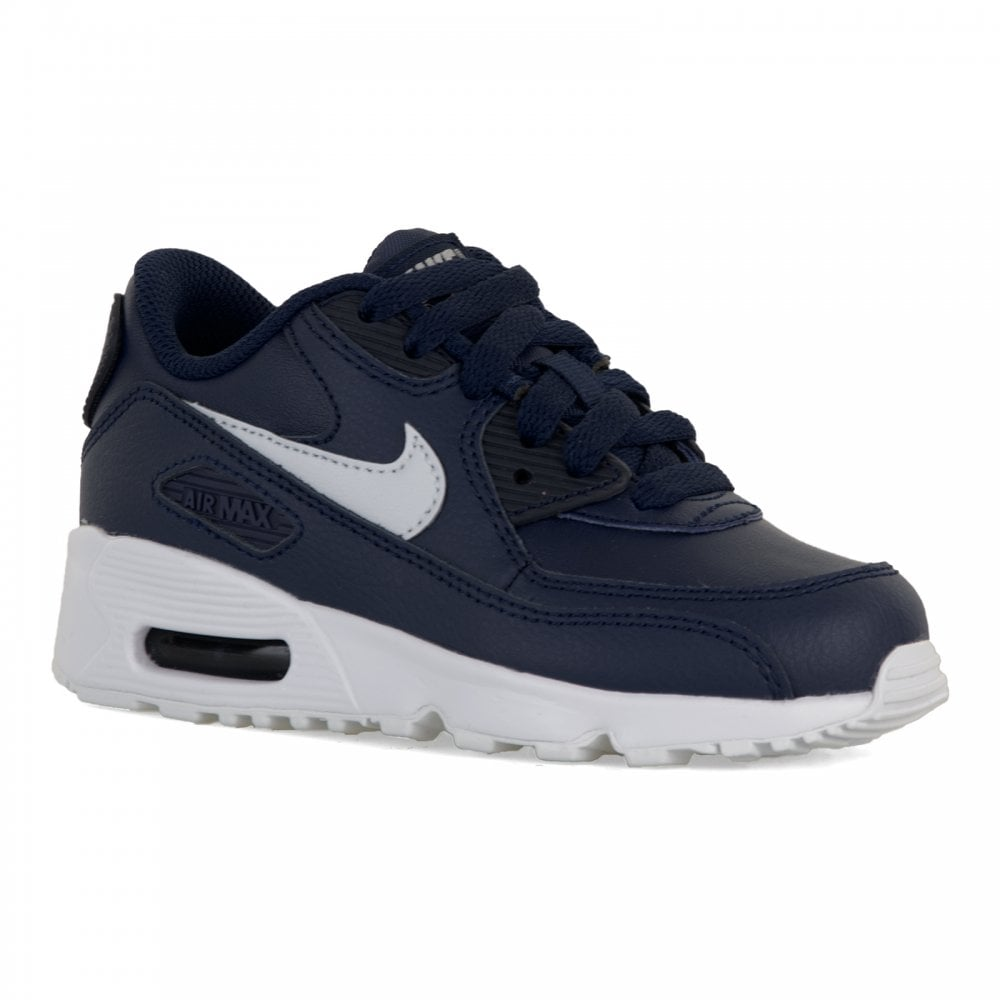 Juniors Air Max 90 Leather Trainers (Blue)