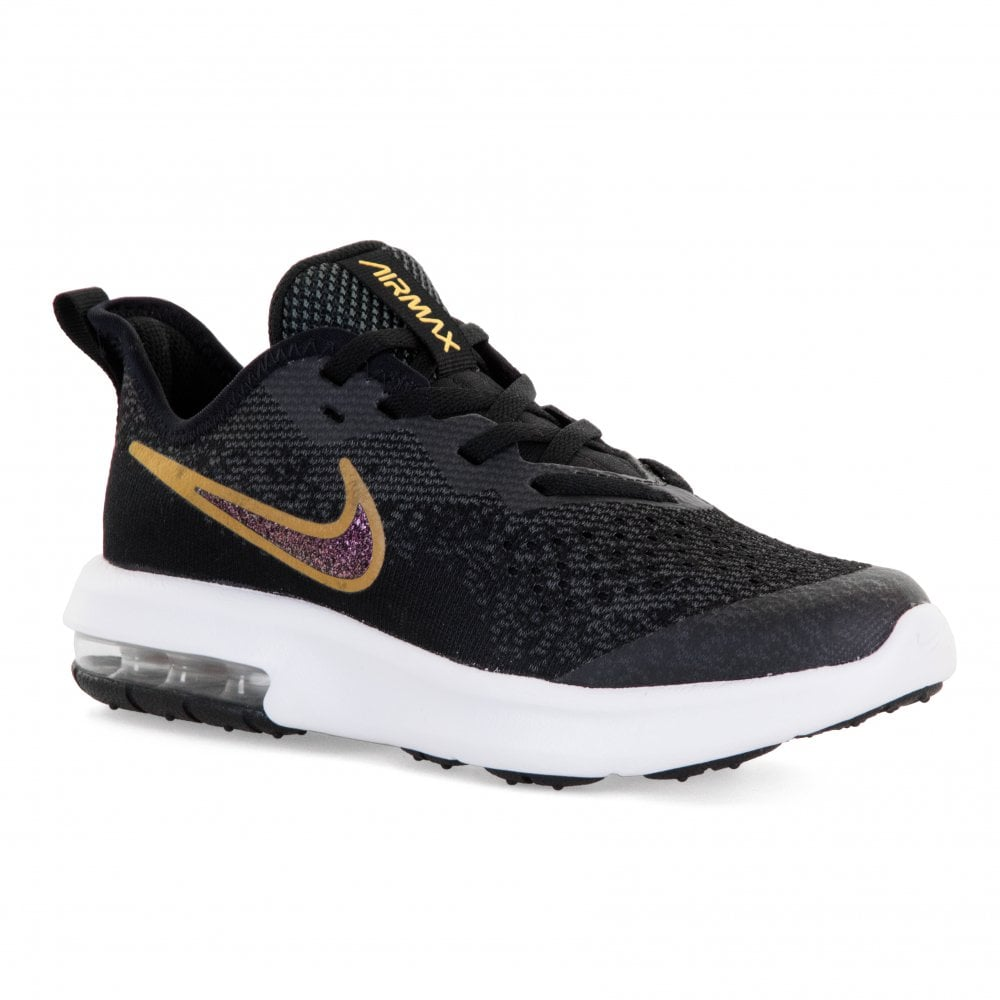 new styles 00db0 ea7a7 Nike Juniors Air Max Sequent 4 Trainers (Black Gold)