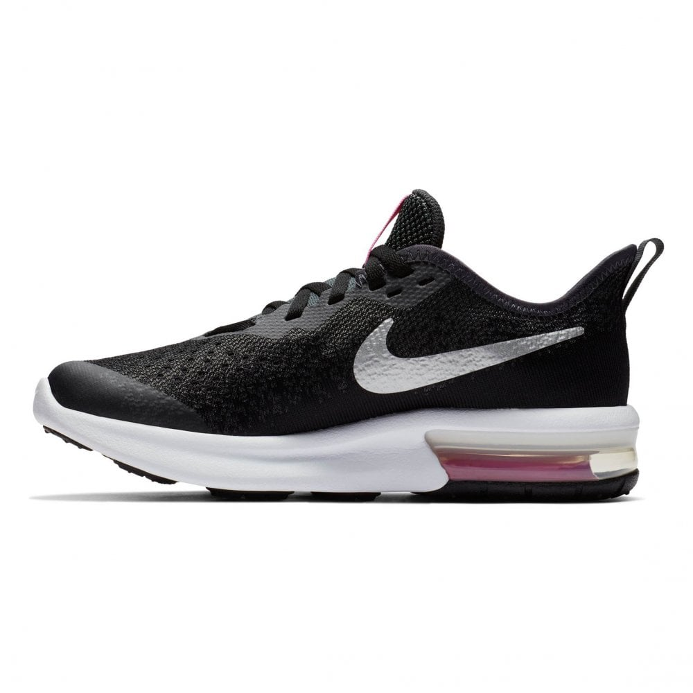a1c3e463c5 Nike Juniors Air Max Sequent 4 Trainers (Black / Pink) - Kids from ...