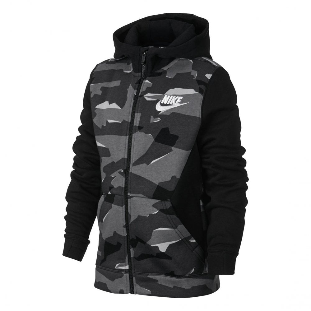 6001334fca Nike Juniors Club Camo Full Zip Printed Hoodie (Black) - Kids from ...
