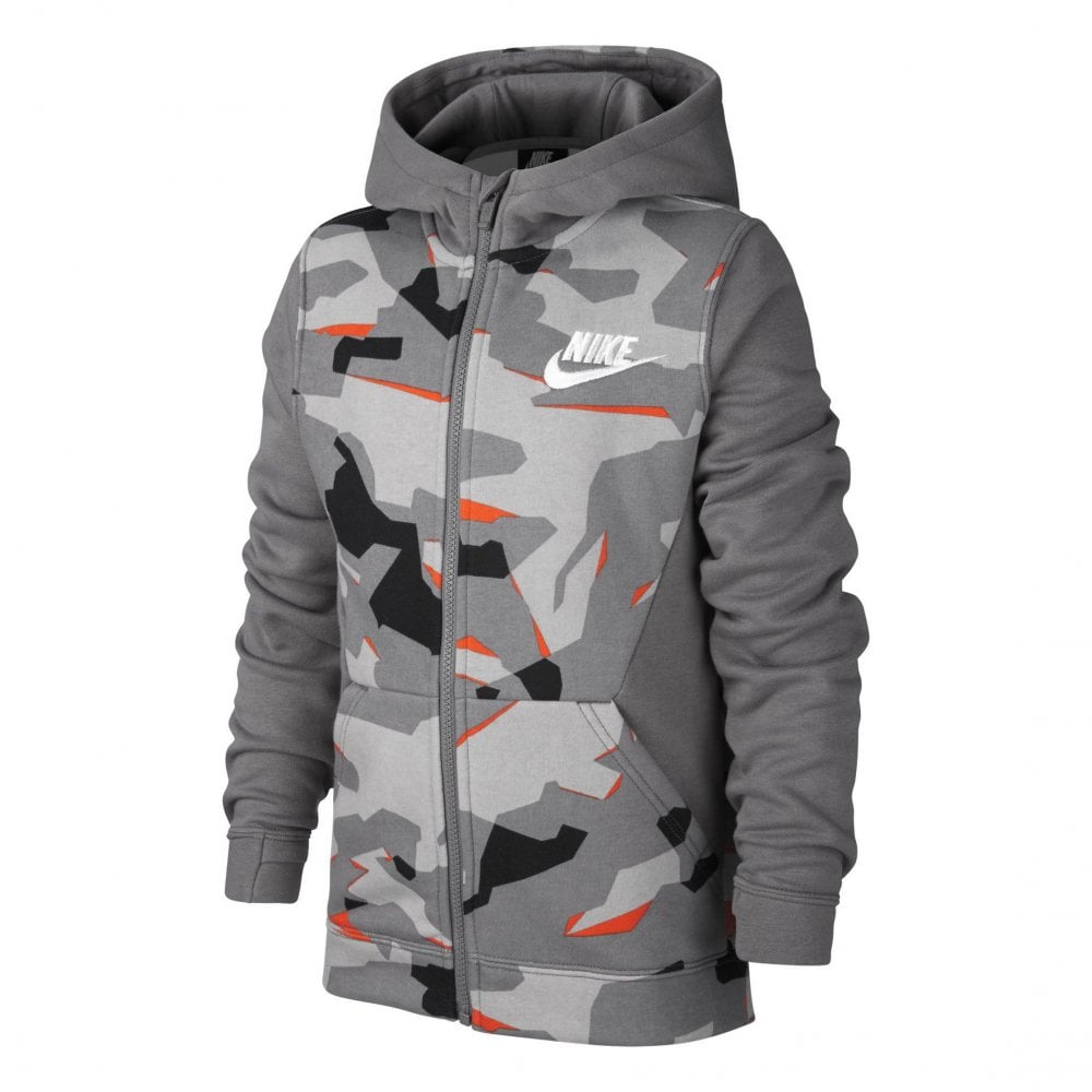 00a7641057 NIKE Nike Juniors Club Camo Full Zip Printed Hoodie (Light Grey ...